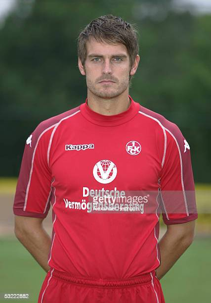 Stefan Blank looks in the camera during the team presentation of 1FC Kaiserslautern for the Bundesliga season 2005 2006 on July 10 2005 in...