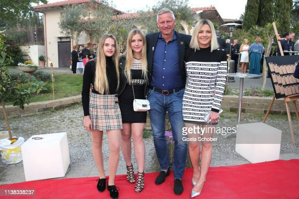 Stefan Bloecher and his daughters Noelia and Evelyn and his girlfriend Anna Posch during the FCR EAGLES Masters Toscana golf tournament Dinner of...
