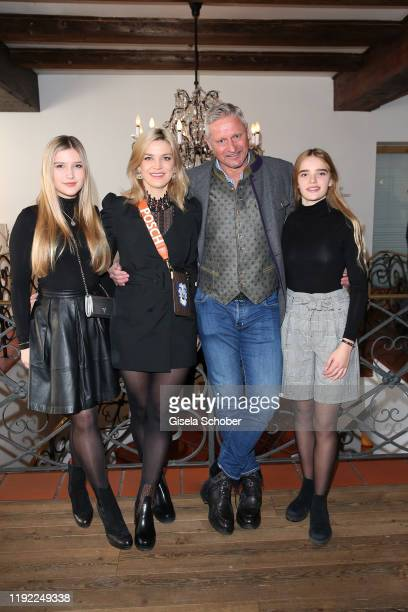Stefan Bloecher and his girlfriend Anna Posch and his daughters Noelia and Evelyn during the Neujahrs Karpfenessen at hotel Kitzhof on January 6 2020...