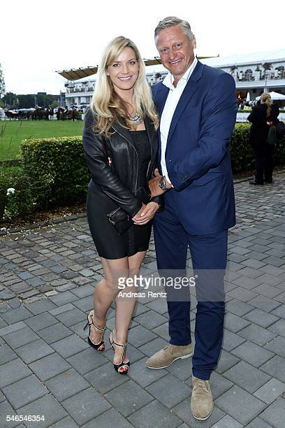 Stefan Bloecher and his girlfriend Anna Posch attend the media night of the CHIO 2016 on July 12 2016 in Aachen Germany