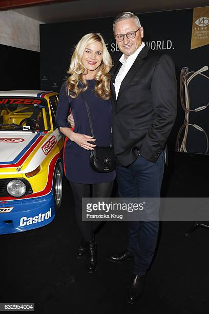 Stefan Bloecher and his girlfriend Anna Posch attends the Rodenstock Exhibition Opening Event at Museum of Urban and Contemporary Art in Munich on...