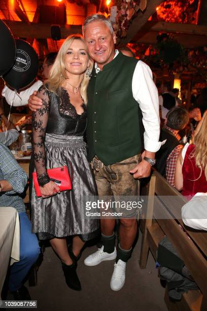 Stefan Bloecher and his girlfriend Anna Posch during the 'Almauftrieb' as part of the Oktoberfest 2018 at Kaefer Tent at Theresienwiese on September...