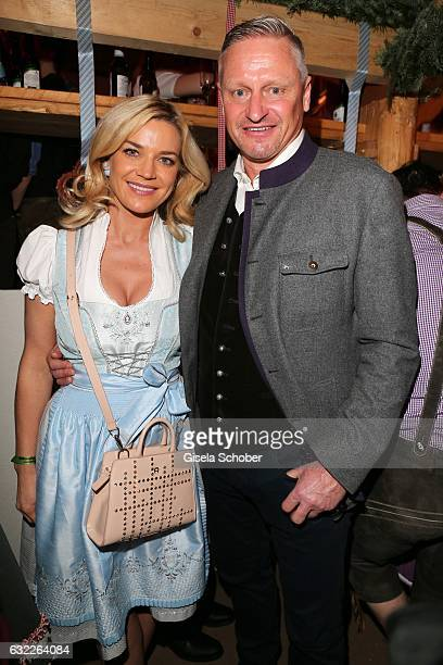 Stefan Bloecher and his girlfriend Anna Posch during the Weisswurstparty at Hotel Stanglwirt on January 20 2017 in Going near Kitzbuehel Austria