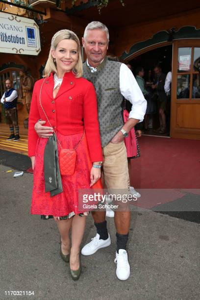 Stefan Bloecher and his girlfriend Anna Posch during the Laureus Wiesn as part of the Oktoberfest 2019 at Theresienwiese on September 22 2019 in...