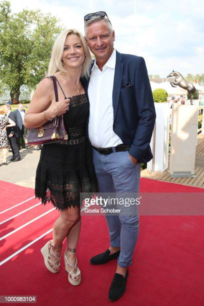 Stefan Bloecher and his girlfriend Anna Posch during the media night of the CHIO 2018 on July 17 2018 in Aachen Germany