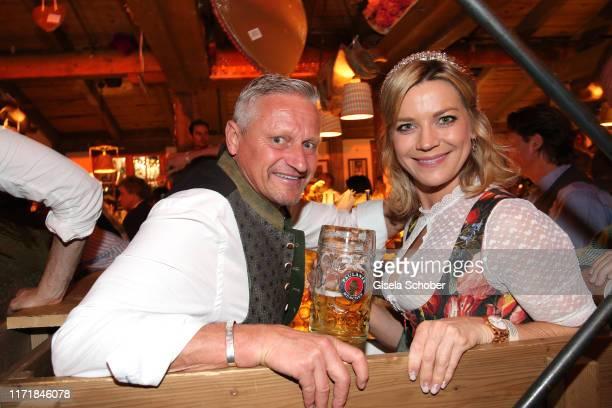 Stefan Bloecher and his girlfriend Anna Posch during the Oktoberfest 2019 at Kaeferschaenke beer tent / Theresienwiese on September 28 2019 in Munich...