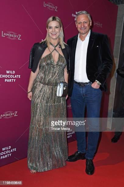 Stefan Bloecher ans his partner Anna Posch attend the red carpet arrival at Lambertz Monday Night Party 2020 at Alter Wartesaal on February 3 2020 in...