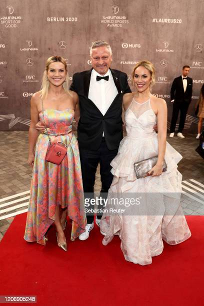 Stefan Bloecher his partner Anna Posch and Katharina Woerndl attend the 2020 Laureus World Sports Awards at Verti Music Hall on February 17 2020 in...