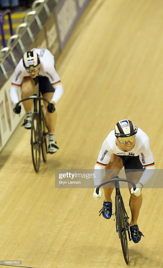 Stefan Boetticher (l) of Germany rides against Robert Foerstermann in the final of the Men's sprint during day three of the UCI Track Cycling World Cup at the Sir Chris Hoy Velodrome on November 18, 2012 in Glasgow, Scotland.