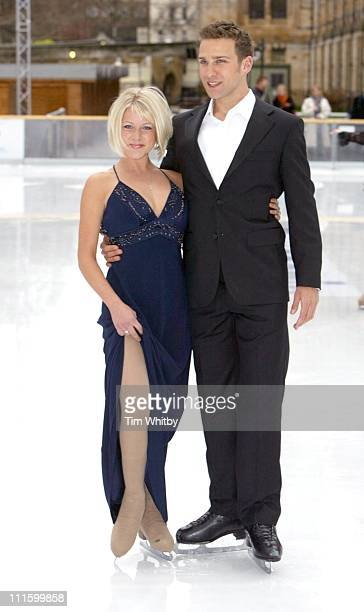 Stefan Booth and Kristina Cousins during 'Dancing on Ice' Photocall at Natural History Museum in London Great Britain