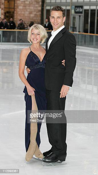 Stefan Booth and Kristina Cousins during 'Dancing on Ice' TV Press Launch at Natural History Museum in London Great Britain