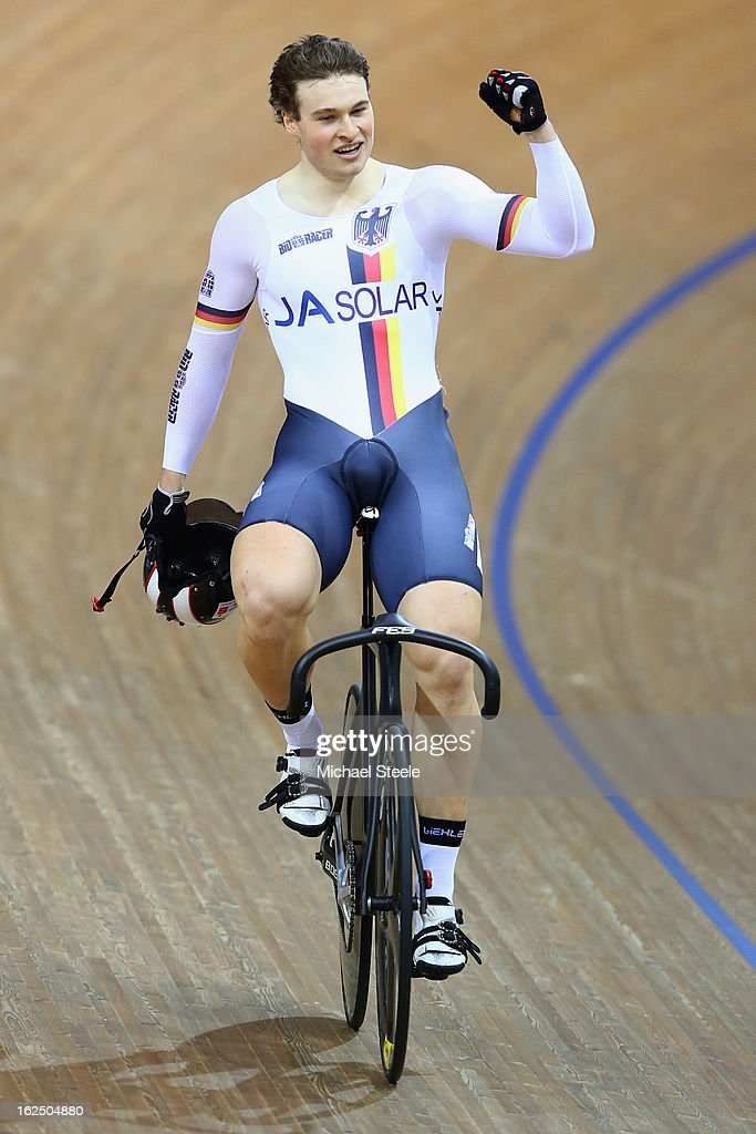 Stefan Botticher of Germany celebrates winning gold in the men's sprint final on day five of the 2013 UCI Track World Championships at the Minsk Arena on February 24, 2013 in Minsk, Belarus.