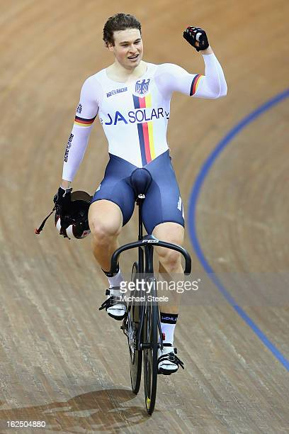 Stefan Botticher of Germany celebrates winning gold in the men's sprint final on day five of the 2013 UCI Track World Championships at the Minsk...