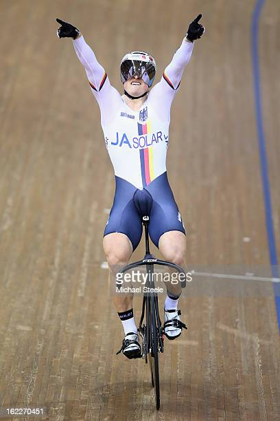 Stefan Botticher of Germany celebrates winning gold in the men's team sprint final during day two of the UCI Track World Championships at Minsk Arena...