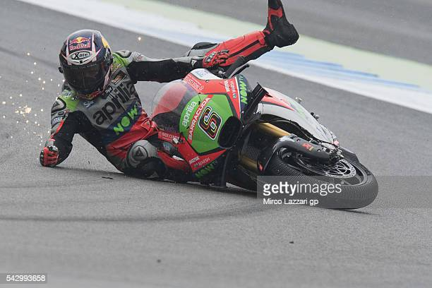 Stefan Bradl of Germany and Aprilia Racing Team Gresini crashed out during the qualifying practice during the at MotoGP Netherlands Qualifying on...
