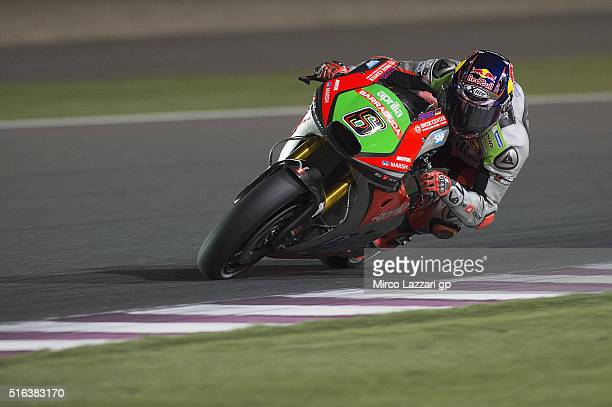 Stefan Bradl of Germany and Aprilia Racing Team Gresini rounds the bend during the MotoGp of Qatar Free Practice at Losail Circuit on March 18 2016...