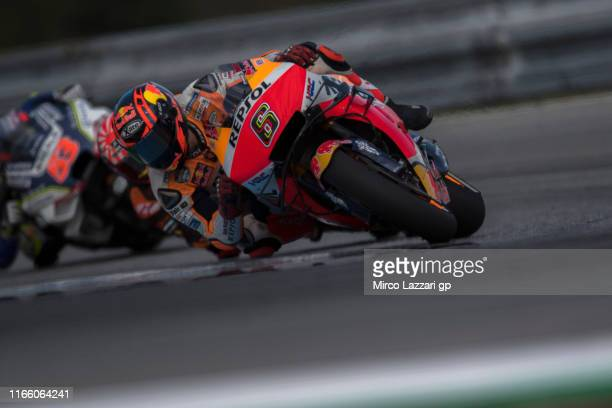 Stefan Bradl of Germany and Honda Team Team leads the field during the MotoGP race during the MotoGp of Czech Republic Race at Brno Circuit on August...