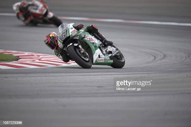Stefan Bradl of Germany and LCR Honda Castrol rounds the bend during the MotoGP race during the MotoGP Of Malaysia - Race at Sepang Circuit on...