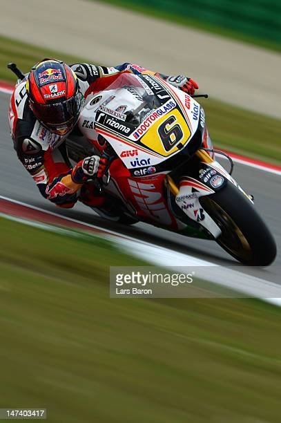 Stefan Bradl of Germany and LCR Honda MotoGP drives during the qualifying of MotoGp Of Holland at TT Circuit Assen on June 29 2012 in Assen...