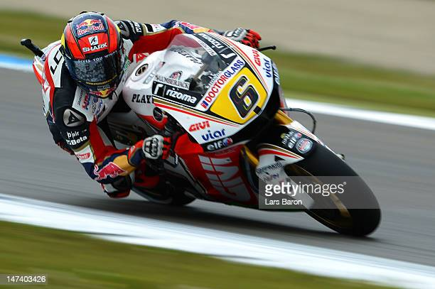 Stefan Bradl of Germany and LCR Honda MotoGP drives during the qualifying of MotoGp Of Holland at TT Circuit Assen on June 29, 2012 in Assen,...