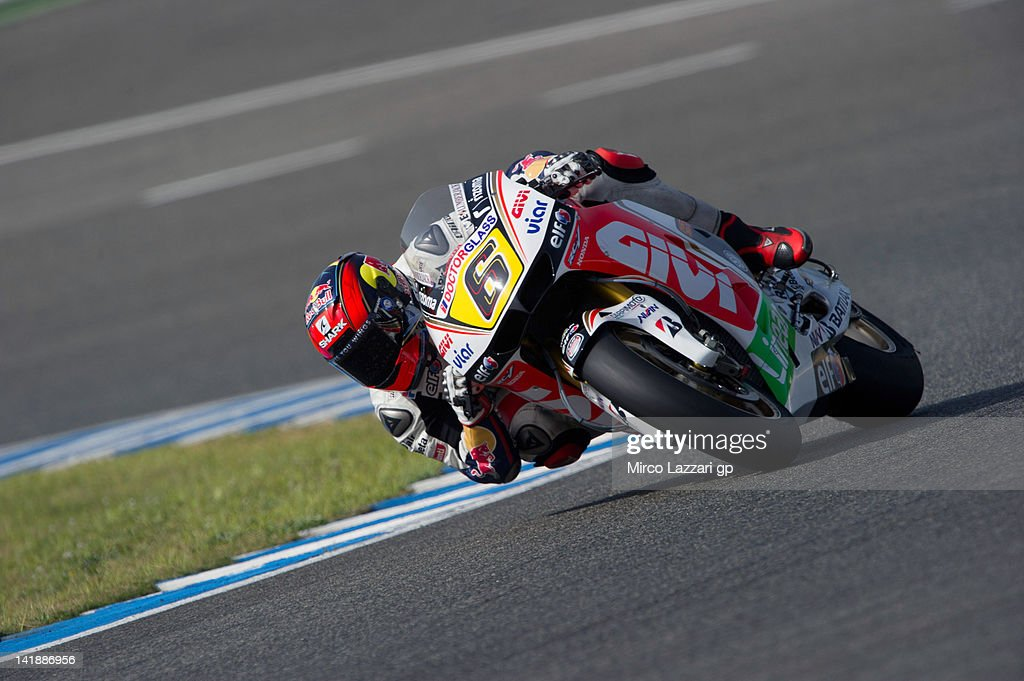 Stefan Bradl of Germany and LCR Honda MotoGP rounds the bend during the third day of testing of MotoGP Tests In Jerez at Circuito de Jerez on March 25, 2012 in Jerez de la Frontera, Spain.