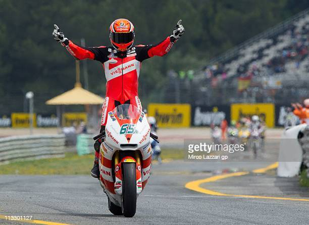 Stefan Bradl of Germany and Viessmann Kiefer Racing celebrates the victory at the end of the Moto2 race of MotoGP of Portugal on May 1, 2011 in...