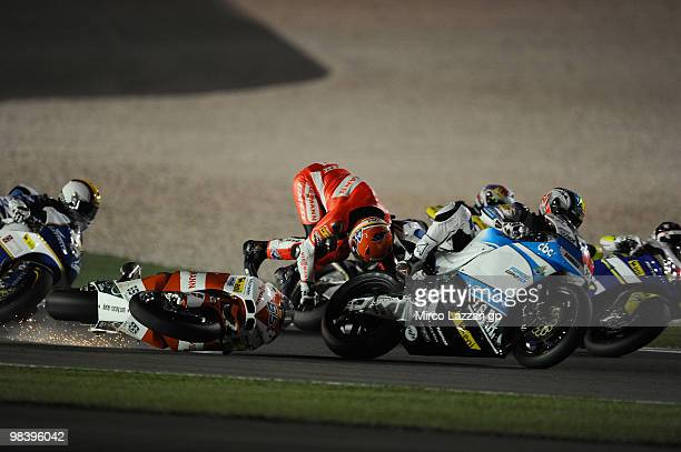 Stefan Bradl of Germany and Viessmann Kiefer Racing crashed out during the Moto2 race of the Qatar Grand Prix at Losail Circuit on April 11, 2010 in...