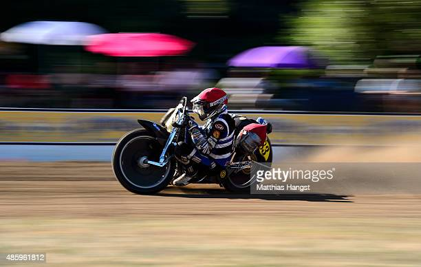 Stefan Brandofer and Daniel Eibl compete in the German Sidecar Championship race during the 46th Kronen Race Days on August 30 2015 in Berghaupten...