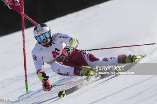 Stefan Brennsteiner of Austria in action during the Audi FIS Alpine Ski World Cup Men's Giant Slalom on February 27, 2021 in Bansko Bulgaria.