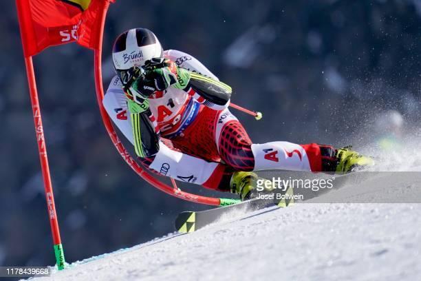 Stefan Brennsteiner of Austria in the second run of the Audi FIS Alpine Ski World Cup - Men's Giant Slalom on October 27, 2019 in Soelden, Austria.
