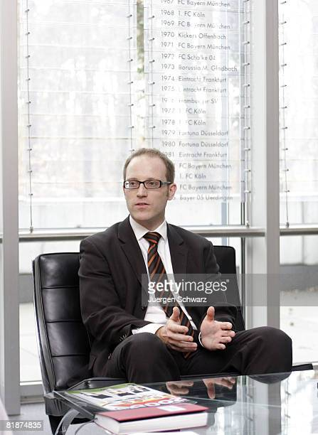 Stefan Brost European Affairs Manager of the German Football Association gestures during an interview on March 11 2008 in Frankfurt Germany