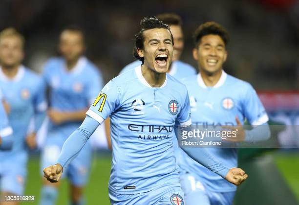 Stefan Colakovski of Melbourne City celebrates after scoring a goal during the A-League match between the Melbourne Victory and Melbourne City FC at...