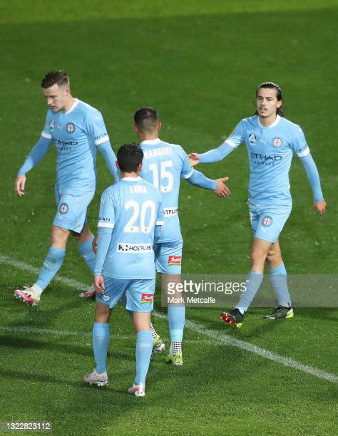 Stefan Colakovski of Melbourne City celebrates after scoring a goal during the A-League match between Melbourne City and Newcastle Jets at Netstrata...