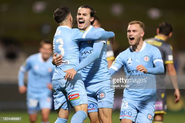 Stefan Colakovski of Melbourne City is congratulated by team mates after scoring a goal during the A-League Semi-Final match between Melbourne City...