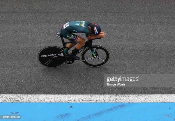 Stefan de Bod of Team South Africa rides during the Men's Individual time trial on day five of the Tokyo 2020 Olympic Games at Fuji International...