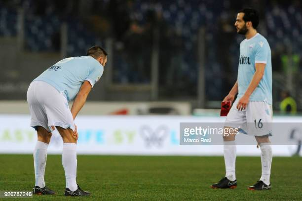 Stefan De Vrij and Marco Parolo reacts at the finish match the serie A match between SS Lazio and Juventus at Stadio Olimpico on March 3 2018 in Rome...