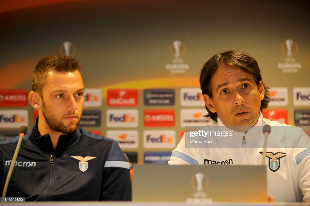 Stefan De Vrij and SS Lazio head coach Simone Inzaghi during the SS Lazio Press Conference on September 13, 2017 in Arnhem, Netherlands.
