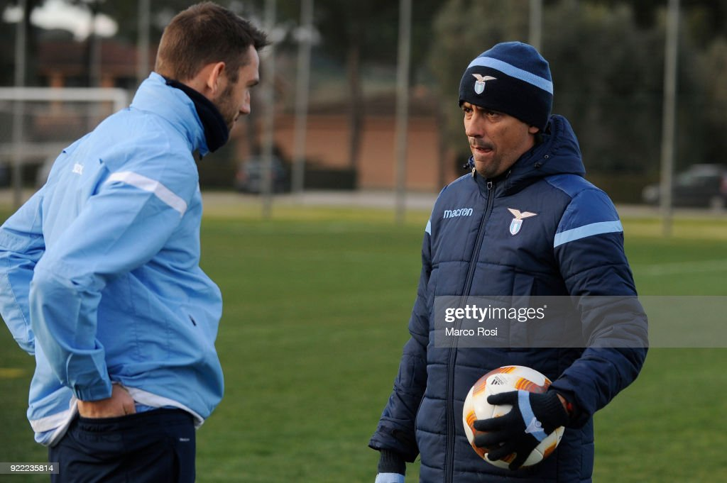 Stefan De Vrij and SS Lazio head coach Simone Inzaghi during the SS Lazio training session on the eve of their UEFA Europa Match against Steaua Bucharest on February 21, 2018 in Rome, Italy.