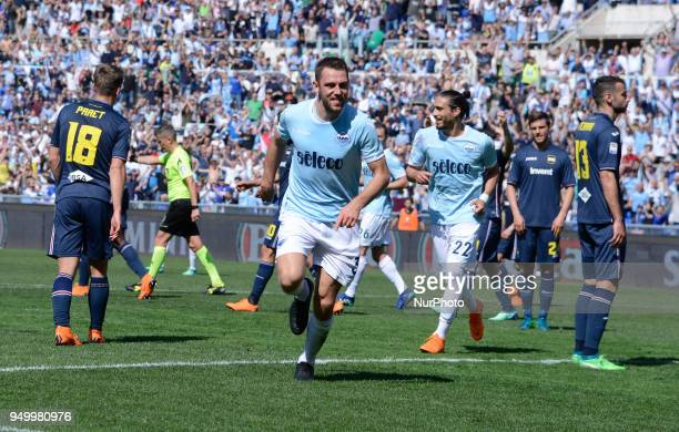 Stefan de Vrij celebrates after score goal 20 during the Italian Serie A football match between SS Lazio and US Sampdoria at the Olympic Stadium in...