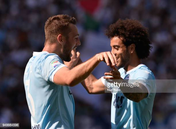 Stefan de Vrij celebrates with Felipe Anderson after score goal 20 during the Italian Serie A football match between SS Lazio and US Sampdoria at the...