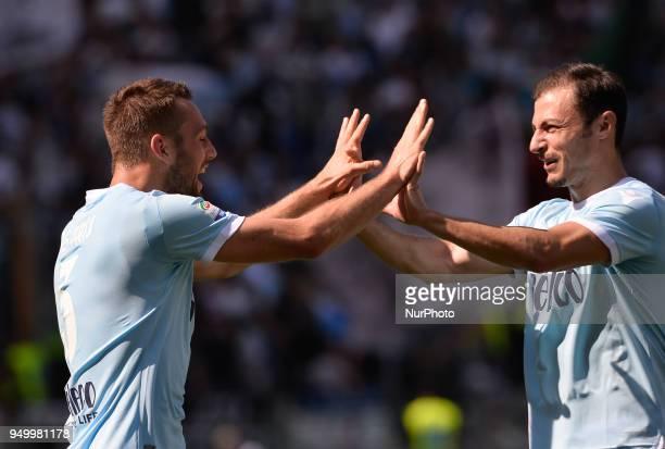 Stefan de Vrij celebrates with Stefan Radu after score goal 20 during the Italian Serie A football match between SS Lazio and US Sampdoria at the...