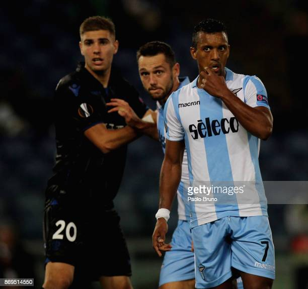 Stefan De Vrij Nani of SS Lazio and Maxime Le Marchand of OGC Nice look on during the UEFA Europa League group K match between SS Lazio and OGC Nice...