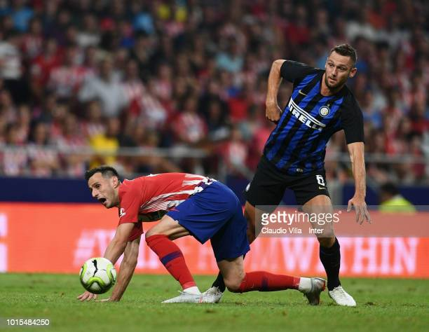 Stefan de Vrij of FC Internazionale and Nikola Kalinic of Atletico Madrid compete for the ball during the International Champions Cup 2018 match...
