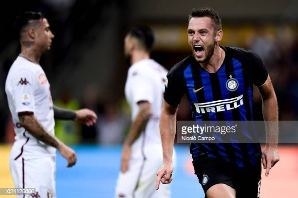 Stefan De Vrij of FC Internazionale celebrates after scoring a goal during the Serie A football match between FC Internazionale and Torino FC The...