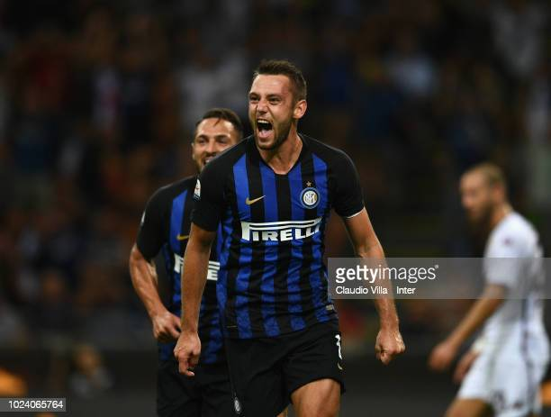 Stefan de Vrij of FC Internazionale celebrates after scoring the second goal during the serie A match between FC Internazionale and Torino FC at...
