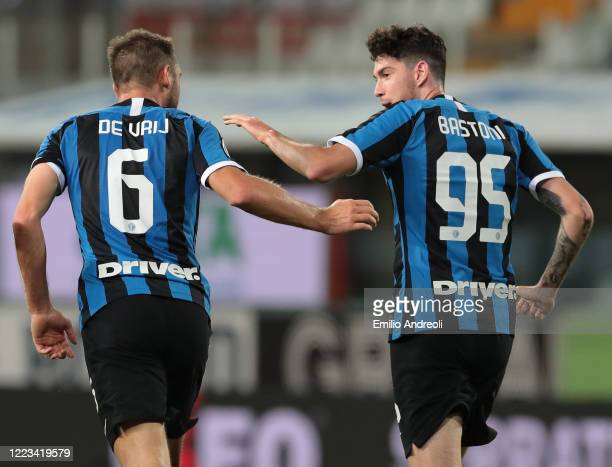 Stefan De Vrij of FC Internazionale celebrates his goal with his teammate Alessandro Bastoni during the Serie A match between Parma Calcio and FC...