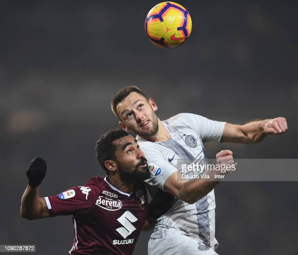 Stefan de Vrij of FC Internazionale in action during the Serie A match between Torino FC and FC Internazionale at Stadio Olimpico di Torino on...