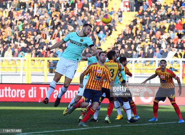 Stefan de Vrij of FC Internazionale in action during the Serie A match between US Lecce and FC Internazionale at Stadio Via del Mare on January 19...