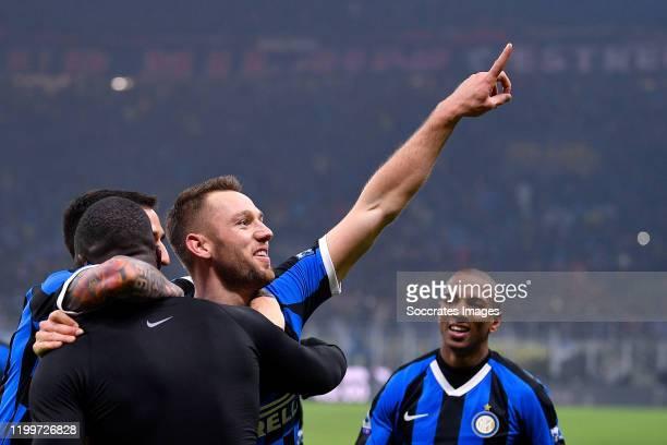 Stefan de Vrij of FC Internazionale Milano celebrates the 42 with Romelu Lukaku of FC Internazionale Milano during the Italian Serie A match between...