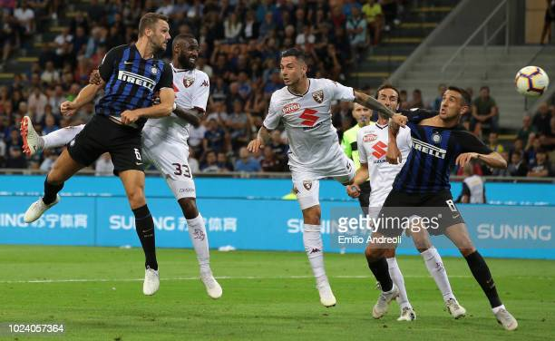 Stefan De Vrij of FC Internazionale scores his goal during the serie A match between FC Internazionale and Torino FC at Stadio Giuseppe Meazza on...